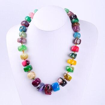 561d0983c8e2 Nueva joyería de moda forma cuadrada multicolor natural piedra de agata piedra  semipreciosa collar mujeres Bijoux