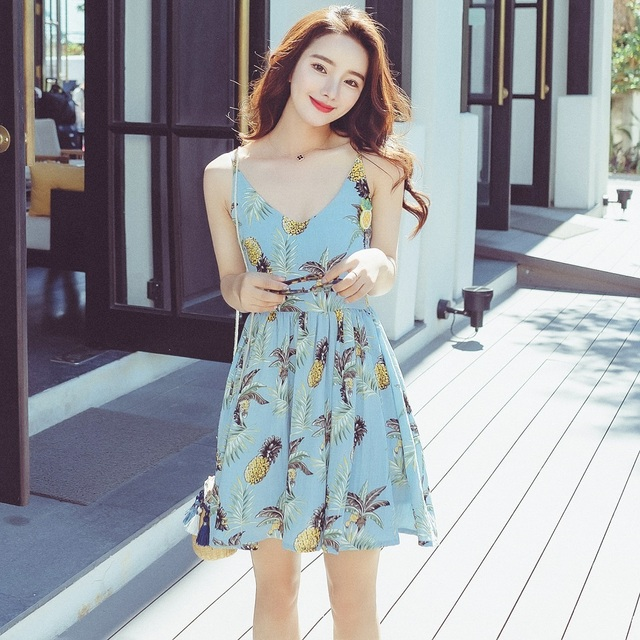 97c4e6bf40 Shetelisi Spaghetti-Strap Chiffon Dress Holiday Party Floral Print Open-Back  A-Line Dresses Slim Sweet Girl Beach Clothes sd004