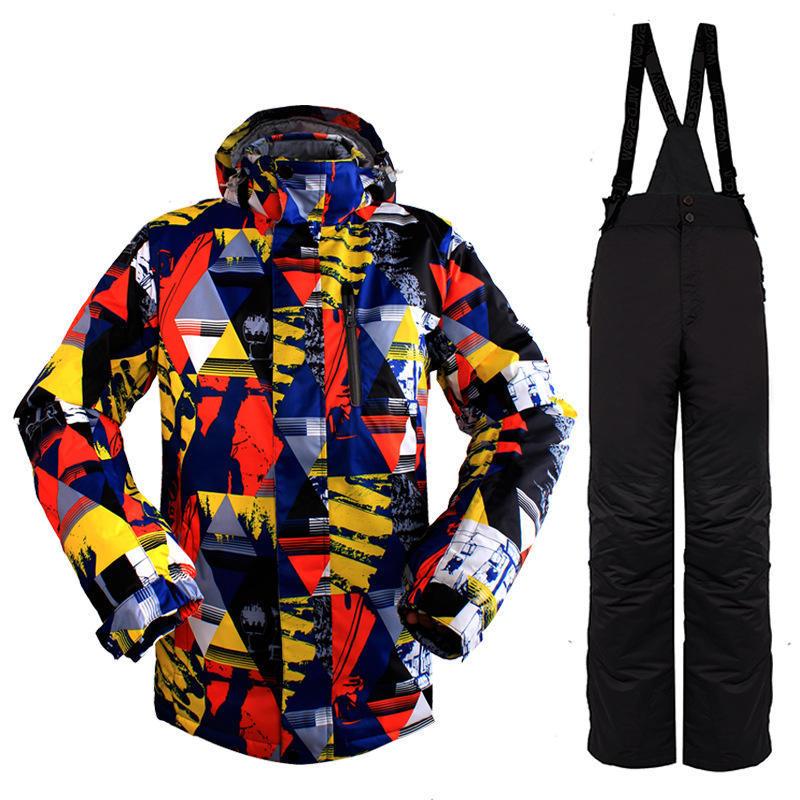 Men Skiing Jackets Sets Outdoor Ski Jackets Pant Snowboarding Camping Hiking Waterproof Windproof Plaid Sportswear Suits q1SKT25