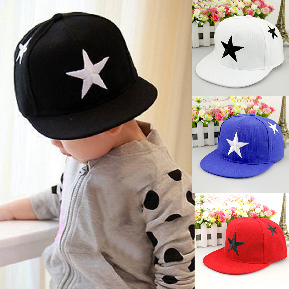 Boys Girls Wide Brim Star Embroidery Snap Back Sports Summer Hip Hop Sun Hat Fashion Kids Adjustable Baseball Cap Outdoor Canvas