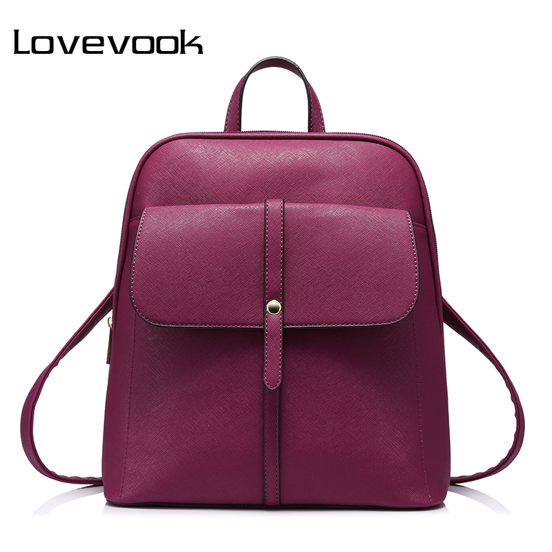 Lovevook Brand Fashion Women Backpacks For Teenage Girls High Quality Shoulder Bag Female Zipper School Bags Preppy Style 2018