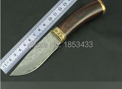 SK019 damascus steel knife blade hunting knife copper handle handmade damascus forged steel knife damascus handle hunting knife