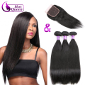 Queen Hair Products With Closure Bundle Peruvian Virgin Hair Peruvian Straight Virgin Hair 3pcs With Closure100% Remy Human Hair