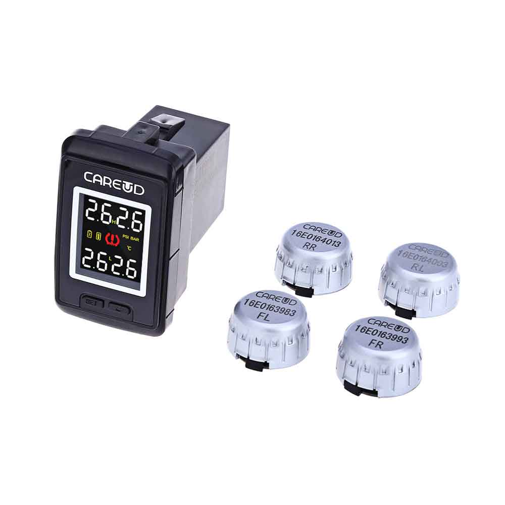 New CAREUD U912 Uto Wireless TPMS 433.92MHz Tire Pressure Monitoring System 4 External Sensors For Toyota