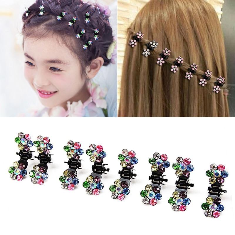 Wholesale 12PCSLot mini Cute Crystal Flowers Metal Hair Claws Oranment Hair Clip for children girls Headdress Hair Accessories