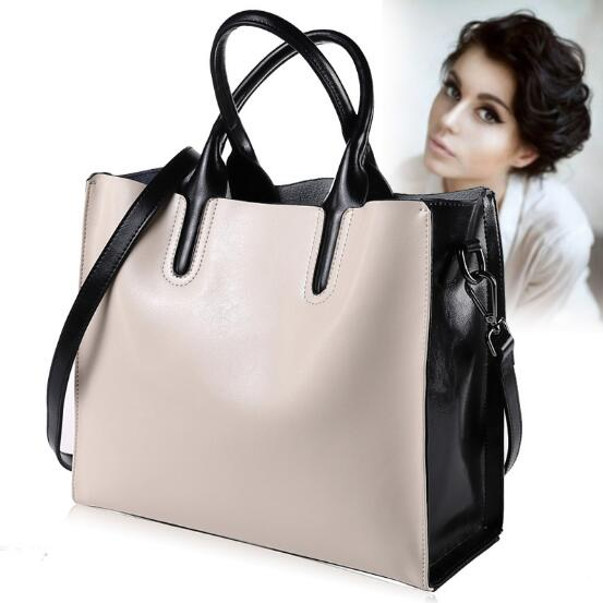 100 Genuine Leather Bags for Women Office Lady Large Handbag White and Black Fashion Design Women