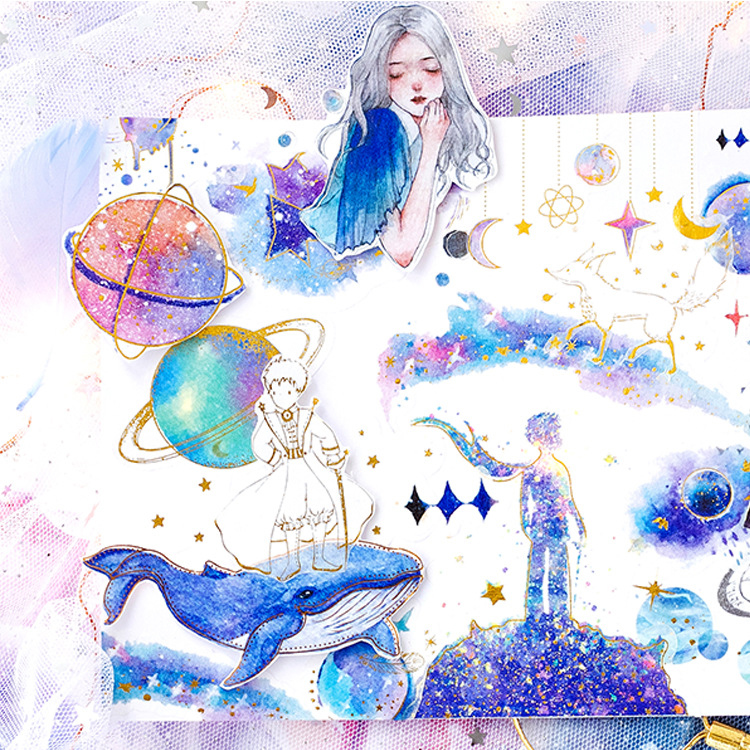 60PCS/ PACK Kawaii Cute Planet Whale Gold Sticker Marker Planner Diary Stationery Stickers Scrapbooking Bullet Journal sl142660PCS/ PACK Kawaii Cute Planet Whale Gold Sticker Marker Planner Diary Stationery Stickers Scrapbooking Bullet Journal sl1426