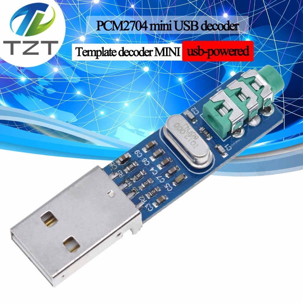 TZT 5V Mini PCM2704 USB DAC HIFI USB Sound Card USB Power DAC Decoder Board Module For Arduino Raspberry Pi 16 Bits Звуковая карта
