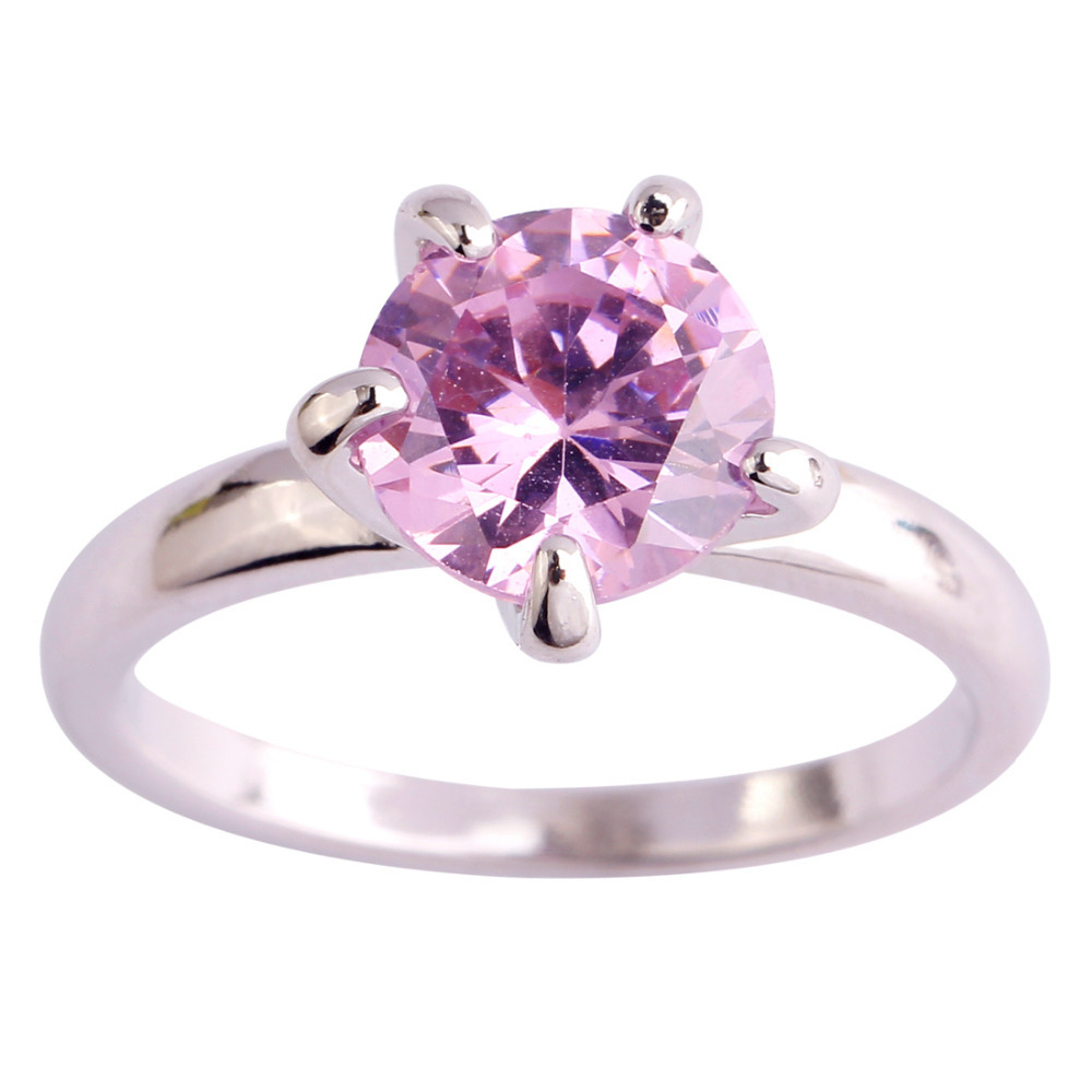 Wholesale Fashion Sweet Lady Pink Cz Silver Color Ring Size 6 7 8 9 10 11  12 For Lover Nice Engagement Jewelry Free Shipping