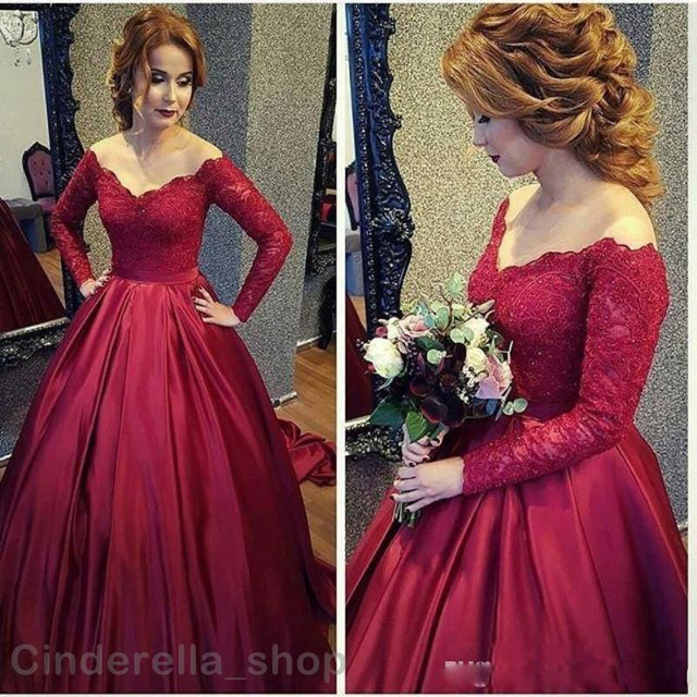 2017 Arabic Vintage Lace Prom Dresses Long Sleeve Burgundy V Neck A