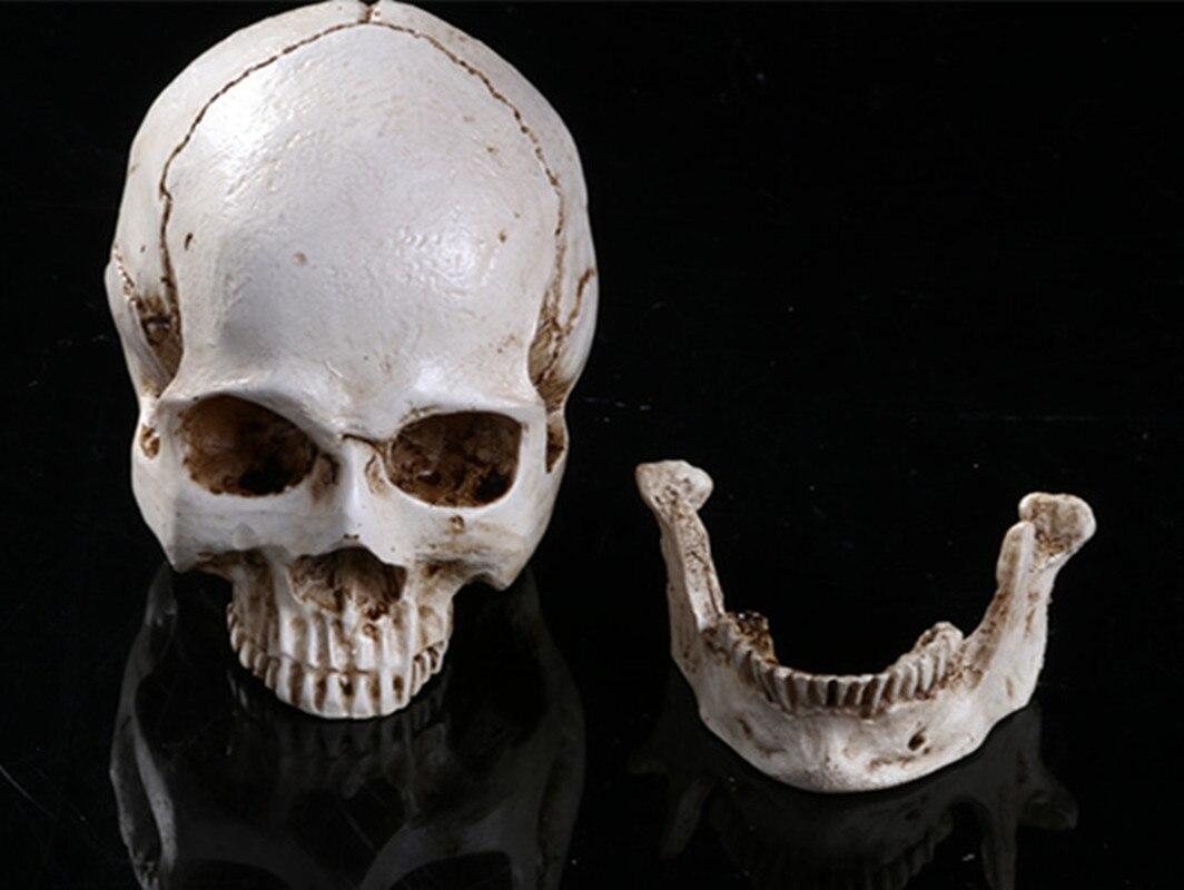 Esqueleto cráneo humano Cenicero decoración del hogar calavera fantasma malvado esqueleto cabeza estatuilla de resina Halloween