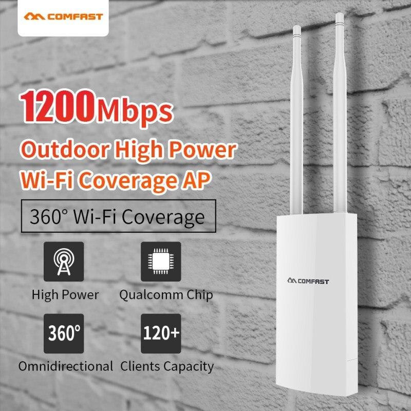 Comfast 5 Ghz Double Bande Haute Puissance Extérieure AP 1200 Mbps 360 degrés Couverture omnidirectionnelle Point D'accès Wifi Station De Base CF-EW72