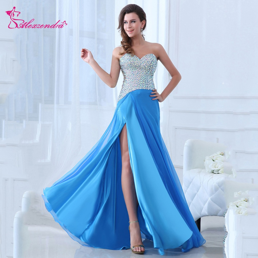 Alexzendra Beaded Bodice Long Blue A Line   Prom     Dresses   with Side Slit Evening   Dresses   Party   Dress   Plus Size
