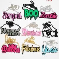 Fashion Choker Necklace Acrylic Letters Buffy Kouhai HP Whipme Blam Prettybitch Senpai Zombie Yaoi Crazy Cat