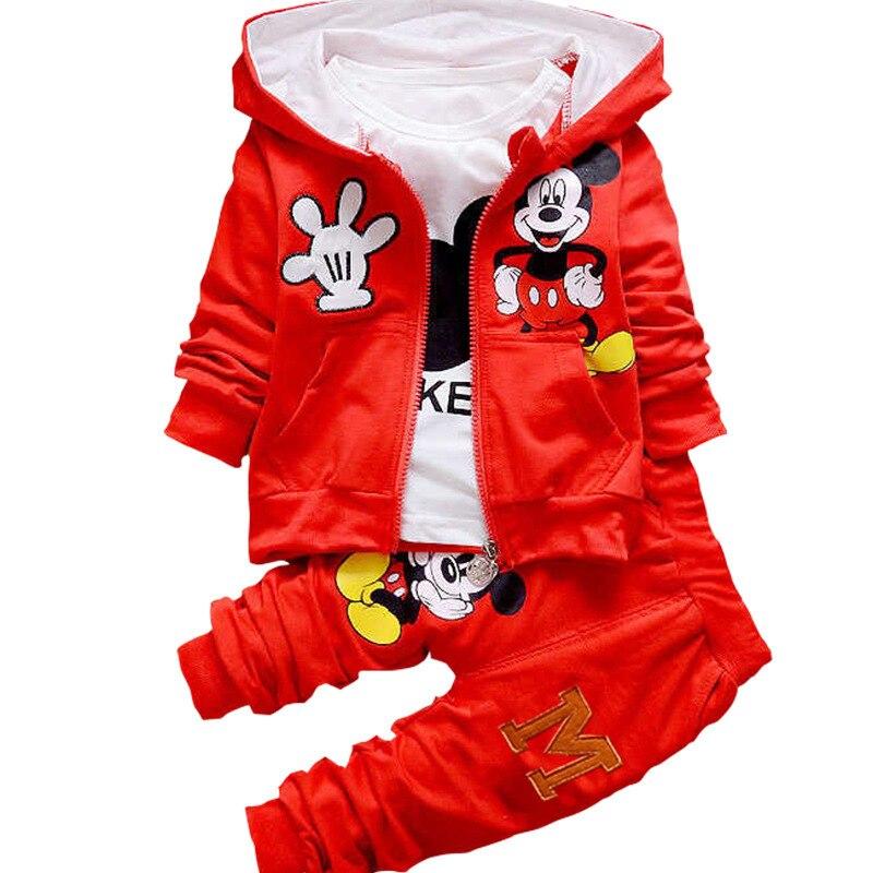 2018 Meninos Ternos Meninas Roupas Conjuntos Para Crianças Dos Desenhos Animados de Mickey Mouse Com Capuz Brasão + T-shirt + Pant 3 pcs Crianças Esporte Terno Crianças Roupas