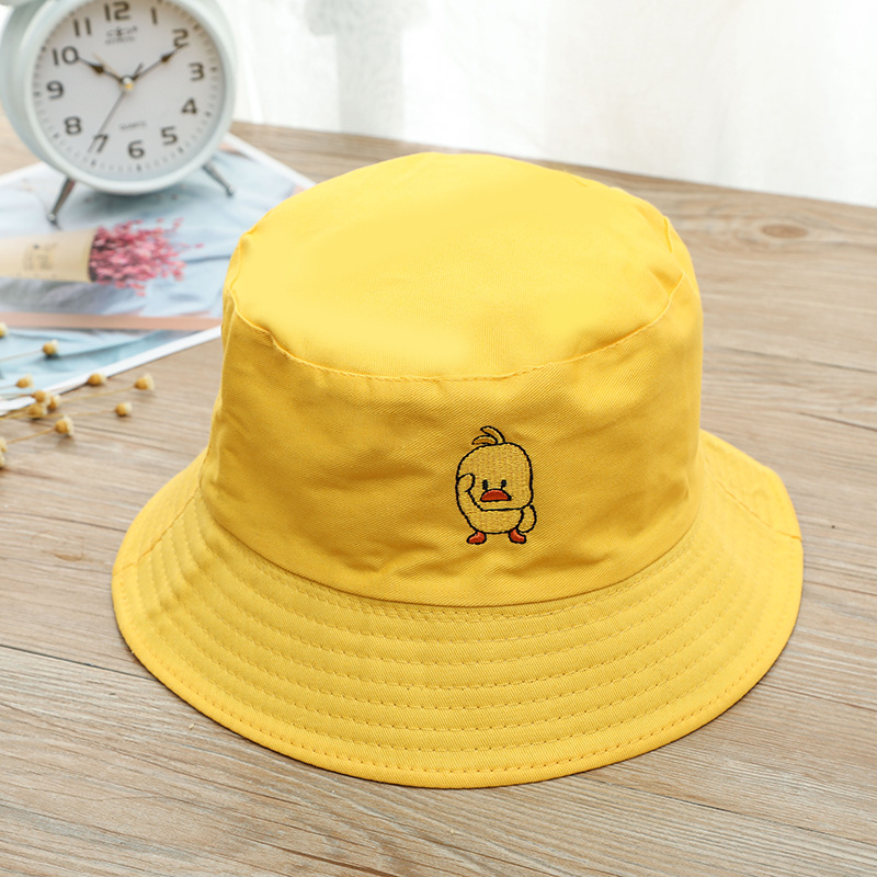 Creative New Cartoon Duck Pattern Funny Embroidery Panama Fashionable Hats Men's And Women's Cotton Outdoor Casual Hip-hop Fisherman Hats
