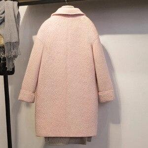 Image 4 - Streetwear ארוך צמר מעיל Loose יחיד חזה צמר תערובת מעיל מעיל תורו למטה צווארון נשים מעילי סתיו חורף