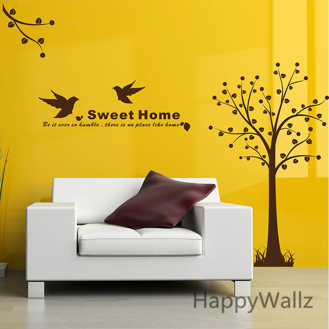 Tree Wall Sticker Sweet Home Tree Wall Decal DIY Removable Wall ...