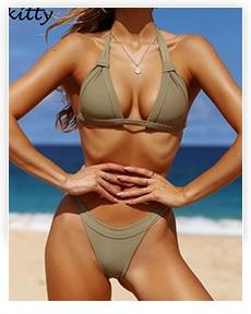 2019 Women Micro Bikini set Push Up Swimwear Solid Beach Bathing Suit Brazilian Thong Swimsuit For Girls Bikini Swim Suit Femme