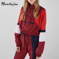 Huaxiafan Patchwork Hoodies Women Zippers Turtleneck Streetwear Short Pullovers Tops Sweatshirts Jumpers 2019 Summer New