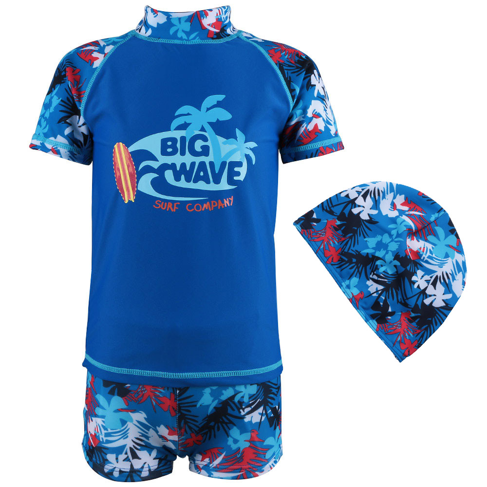 2017 Summer Short 2pcs Baby Swimsuit Boys UV (UPF50+) Swim Beachwear Toddler Bathing Surfing suits  for 1-7Y Kids with Hat Blue