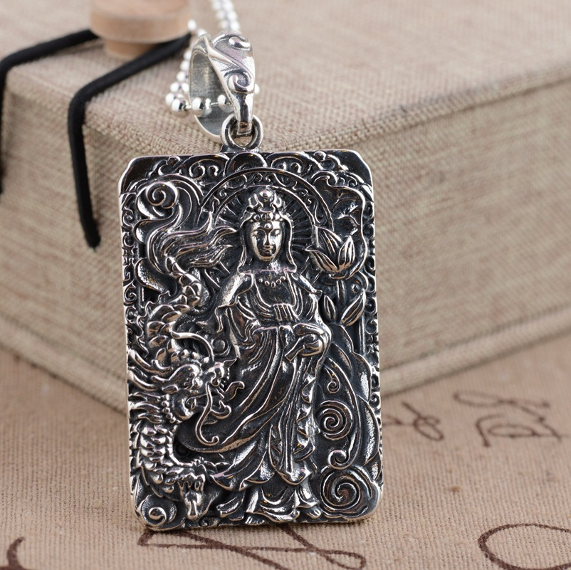Deer king S925 silver jewelry wholesale antique style Avalokiteshvara Heart Tag Pendant male deer king jewelry crystal pendant silver inlaid silver fox s925 wholesale margin of recruit personality styles