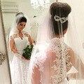 2015 Hot Sale Alta Neck vestido de Noiva Custom Made Manga Comprida Lace Vestido de Noiva Abiti da Sposa