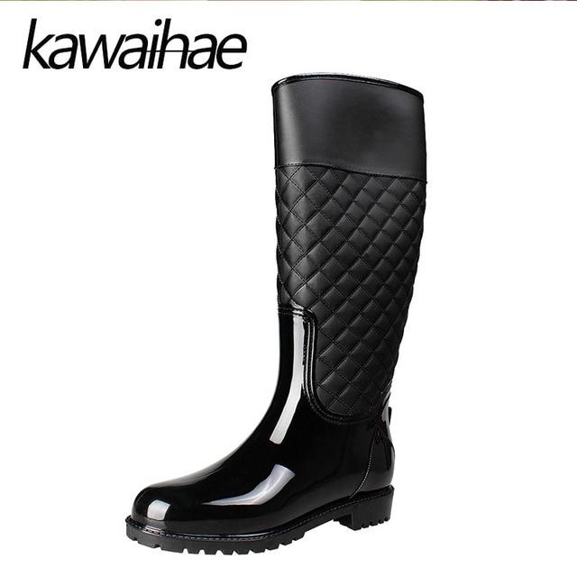 6025ee3441f Bout-rond-Genou-Haute-Femmes-Bottes-de-Pluie-Chaussures-Femme -tanche-Rainboots-En-Caoutchouc-Chaussures-Kawaihae.jpg 640x640.jpg