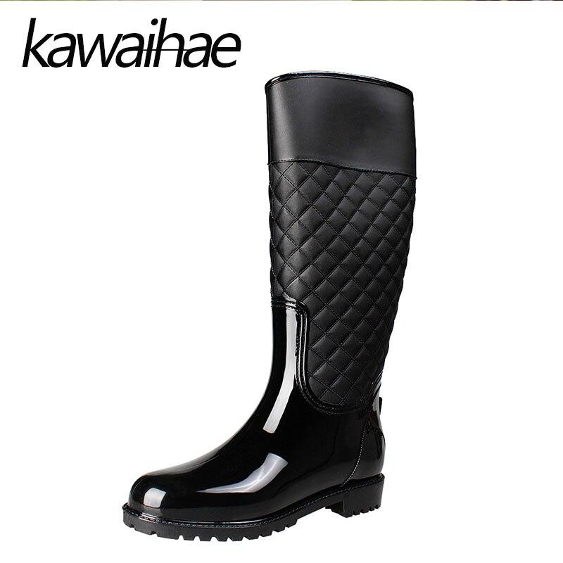 Round Toe Knee High Women font b Boots b font font b Rain b font Shoes