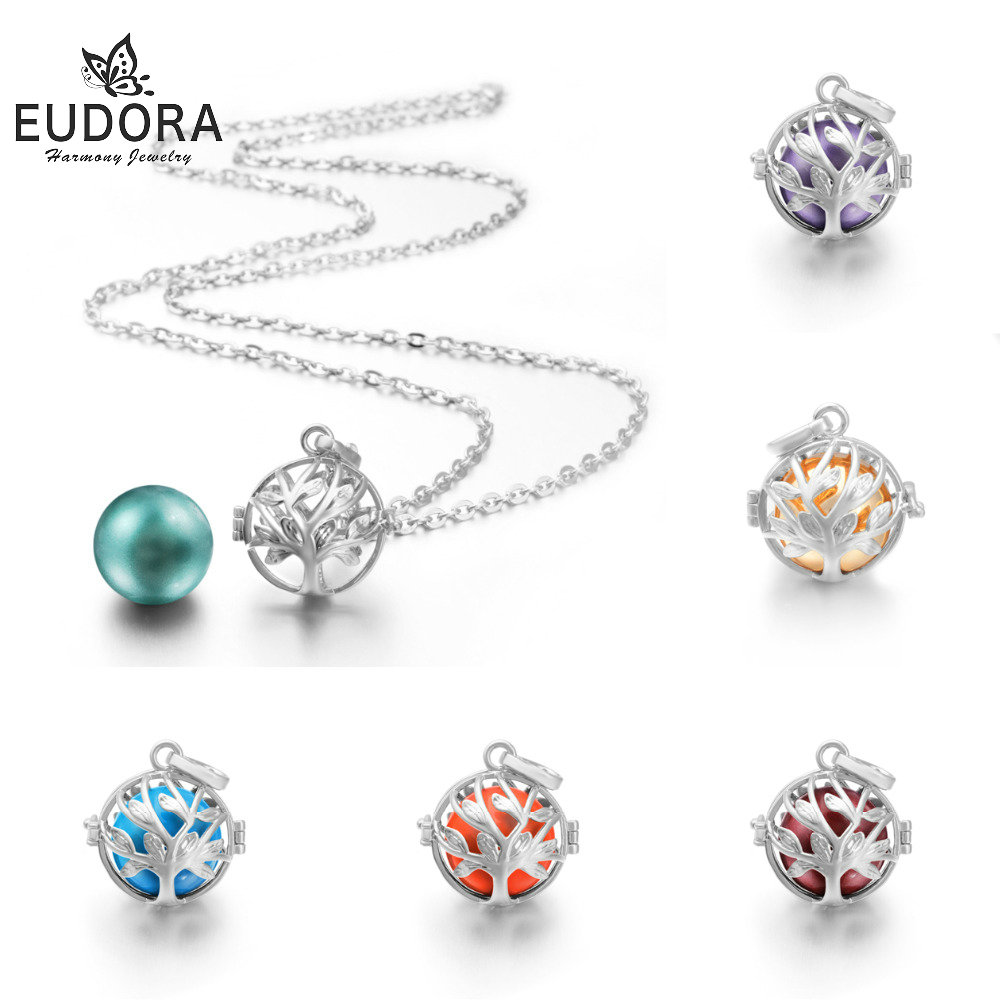 цена на EUDORA Tree Of Life Silver Chime Box Cage Necklace Locket Angel Caller Pendent Nice Sound Harmony Ball For Pregnancy Women Gift