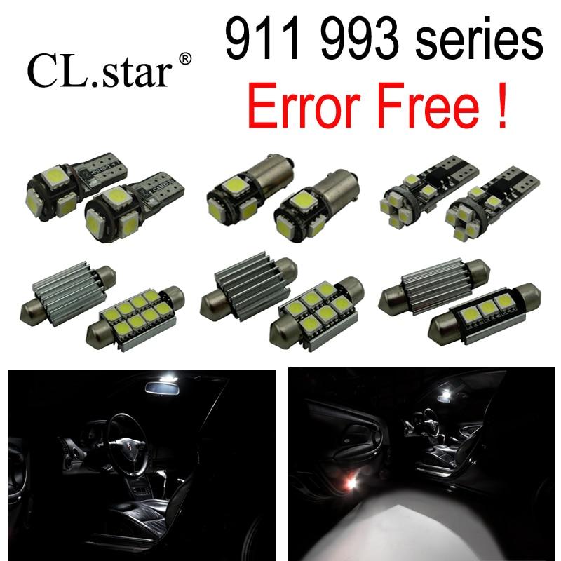 9pcs Error free For Porsche 911 993 series Carrera 4 Turbo GT LED Interior dome map Light lamp Kit Package (1994-1997) 22pc x canbus error free led interior dome map reading light lamp kit package for jaguar xj xj8 xjr x308 1998 2003