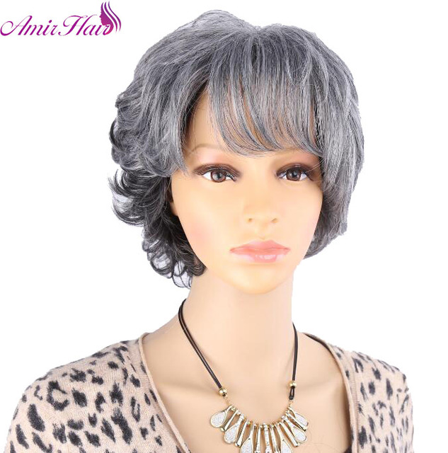 Mix Dark Gray Wigs For Older Women Puffy Synthetic Natural Looking