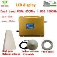 ЖК дисплей Дисплей DCS 1800 мГц + CDMA 850 мГц двухдиапазонный мобильный усилитель сигнала, сотовый телефон ретранслятор сигнала + антенны + коаксиа