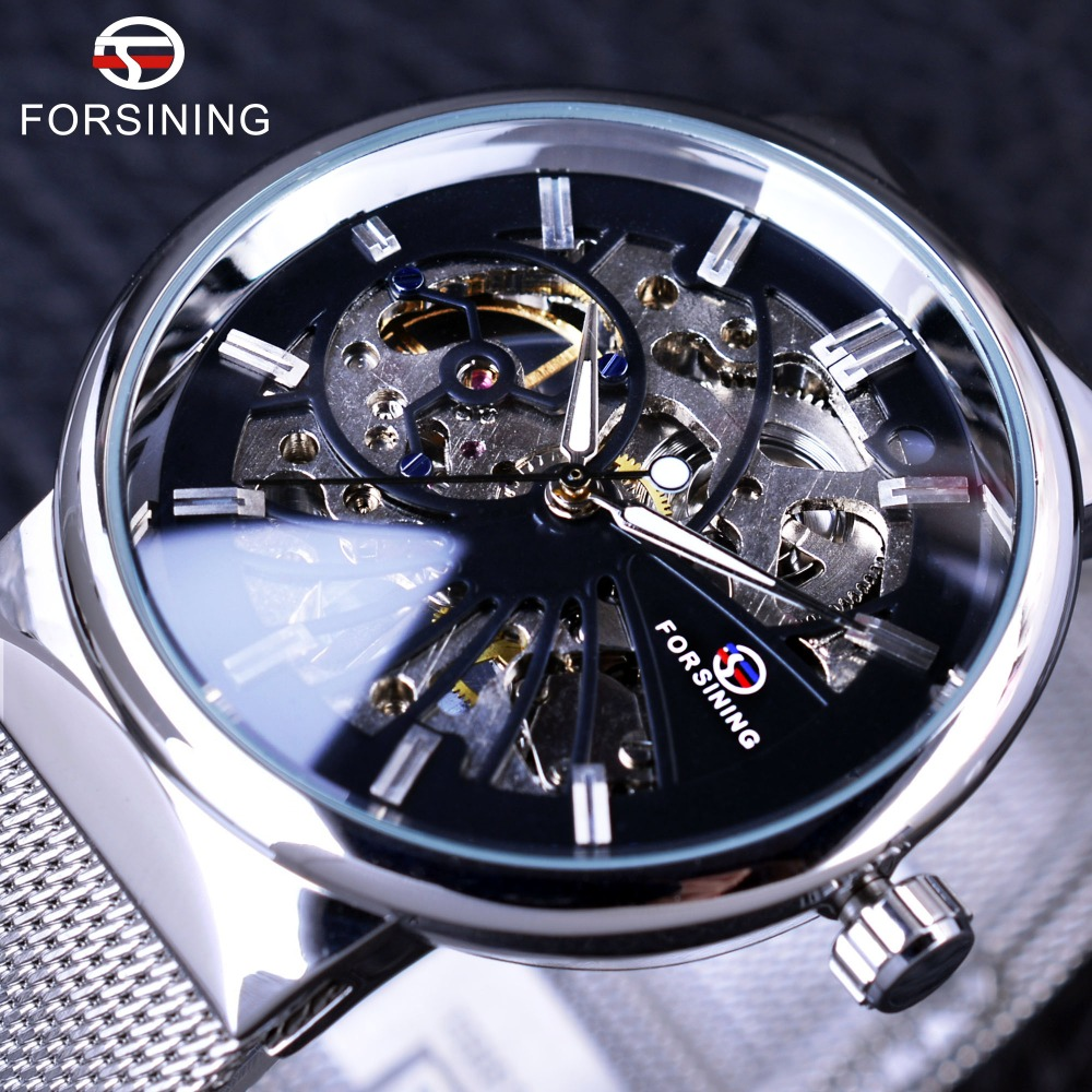 Forsining 2017 Fashion Neutral Design Silver Stål Män Korta Smala Västar Mens Klockor Topp Märke Luxury Mechanical Skeleton Watch