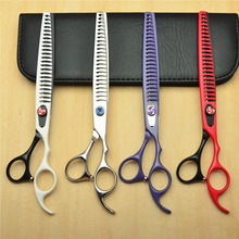 Customized Logo 8 22.5cm Professional Dogs Cats Pets Hair Shears Hairdressing Scissors 23 Teeth Fishbone Thinning C4004