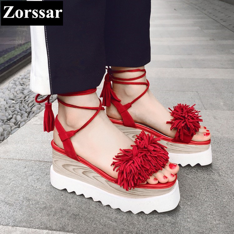 2017 NEW Summer shoes Woman Fashion tassel Platform wedges sandals womens High heels pumps Casual women peep toe shoes PLUS SIZE woman fashion high heels sandals women genuine leather buckle summer shoes brand new wedges casual platform sandal gold silver