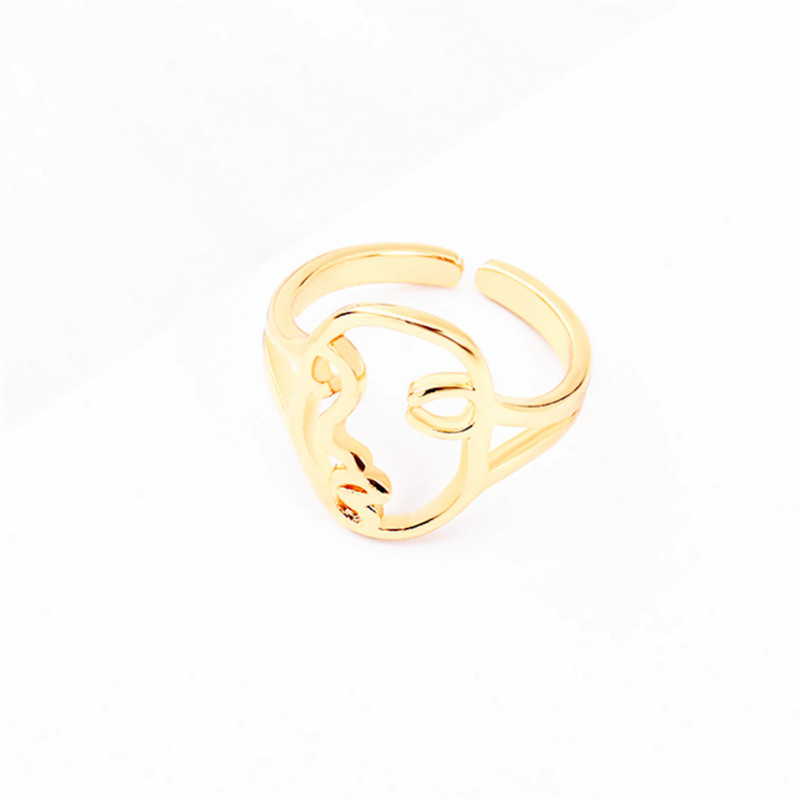 Fashion contracted face contour design abstract smiling geometry fun creative ring female shape
