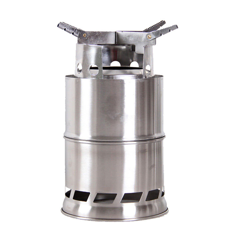 ФОТО 6 in 1 Stainless Steel Camping Stove Outdoor portable wood stove Firewoods Lightweight BBQ Picnic Solidified Alcohol Stove