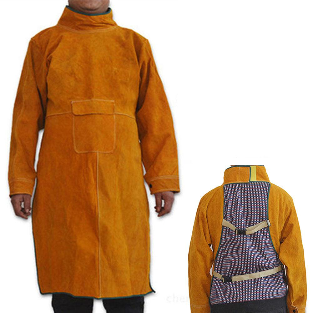 LanLan Long Sleeve Cowhide Leather Heat Resistant Welding Barbecue Grinding Woodturning Apron Work Apparel
