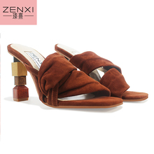 ZENXI Strange Heel Women Summer Sandals 10CM High Heel Slippers Suede Gladiator Sandal Ladies Prom Dress Shoes Slides multi color gladiator sandal women high heel summer shoes women korean sandals multi colored heel shoes for women real image