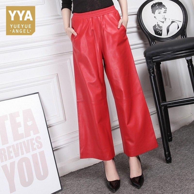 Hot 2019 rouge noir en cuir pantalon femme 100% en peau de mouton pantalon bureau dame lâche taille haute Large jambe pantalon femmes grande taille 4XL