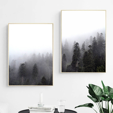 Forest Lanscape Fog Tree Wall Art Canvas Painting Posters and Prints Nordic Poster Picture for Living Room Decor
