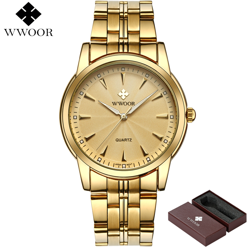Top Brand Luxury Men Waterproof Stainless Steel Gold Watches Men's Quartz Clock Male Golden Wrist Watch WWOOR relogio masculino
