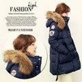 2016 chaqueta de invierno mujeres abajo chaquetas de cuello de piel de mapache grande más el tamaño de la cintura delgada medio-largo abajo mujeres de la capa Prendas de Vestir Exteriores