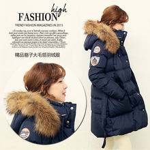 2016 winter jacket women down jackets raccoon large fur collar plus size waist slim medium-long down coat women's Outerwear