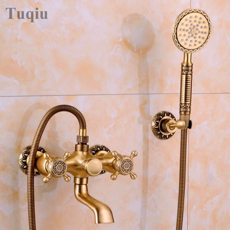Free Shipping Luxury NEW Antique Brass Rainfall Shower Set Faucet + Tub Mixer Tap + Hand held Shower Bath and shower faucet