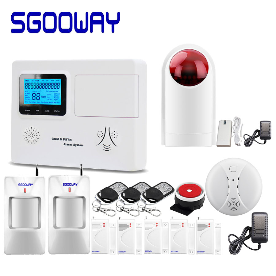 Sgooway LCD PSTN And GSM SMS Alarm System With Wireless Wired Zone More Alarm Sensor Russian English Spanish Voice Home Security