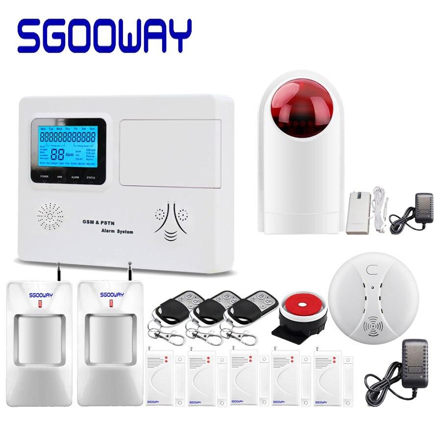 Système d'alarme Sgooway LCD PSTN et GSM SMS avec zone filaire sans fil plus de capteur d'alarme russe anglais espagnol voix sécurité à domicile