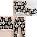 New Girl Kids Flower black clothing set latest designs kids clothes wear pajamas vetement enfant fille outfits brand kleding