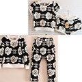 Nuevos Cabritos de La Muchacha de Flor negro ropa últimos diseños de ropa de los cabritos desgaste pijamas vetement enfant fille trajes marca kleding